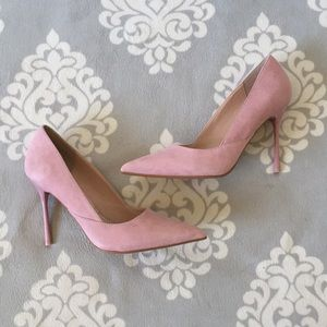 Topshop Shoes - Topshop - Light Pink Suede Pump Heels